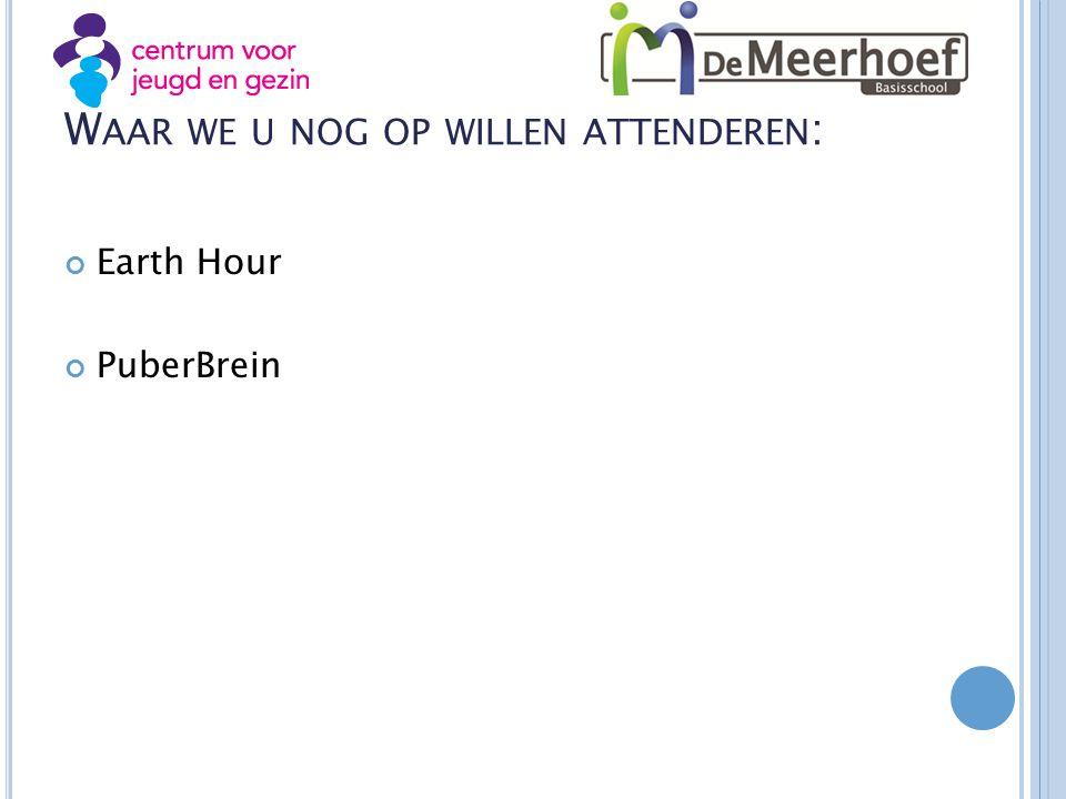 W AAR WE U NOG OP WILLEN ATTENDEREN : Earth Hour PuberBrein