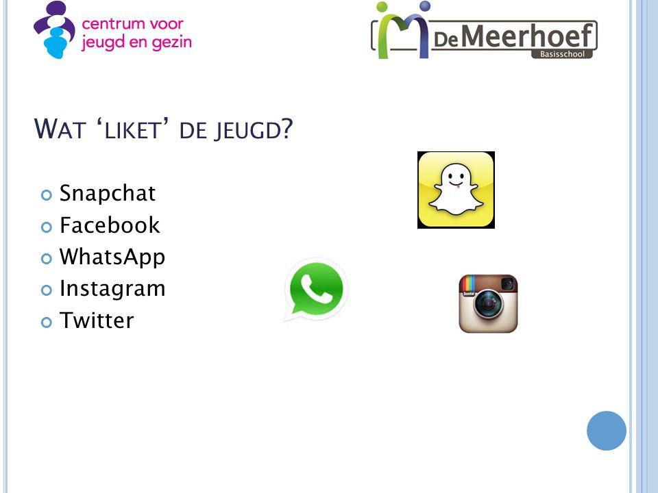 W AT ' LIKET ' DE JEUGD ? Snapchat Facebook WhatsApp Instagram Twitter