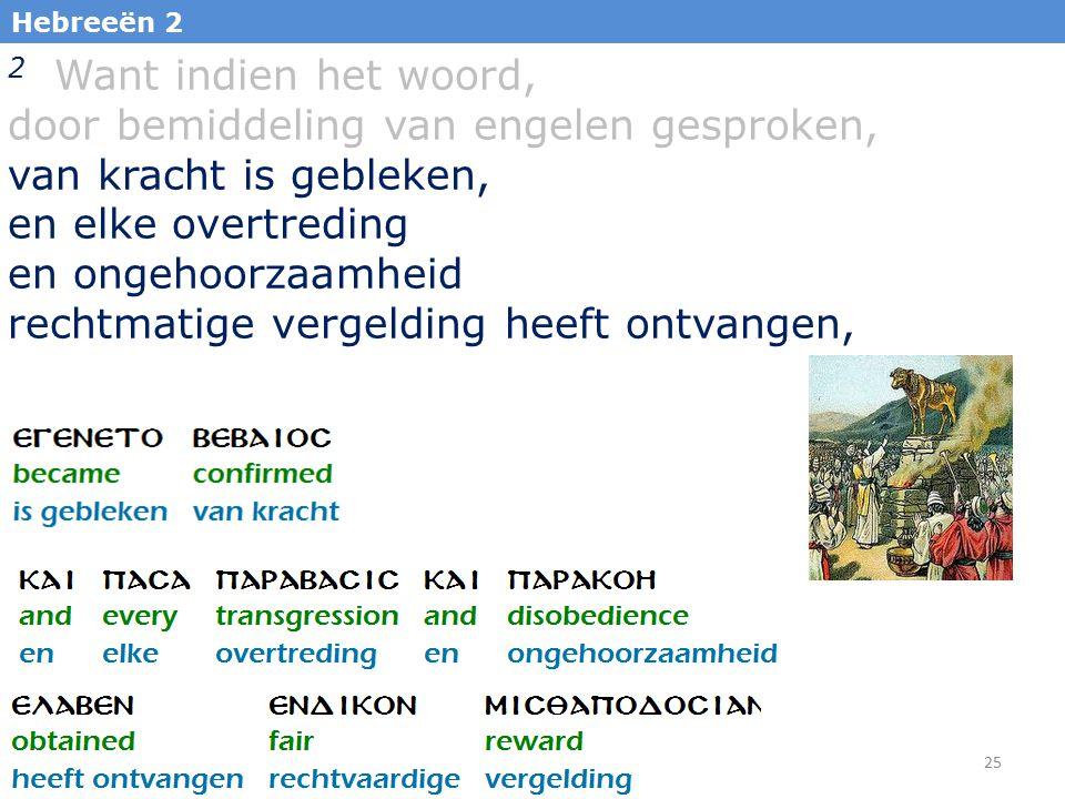 25 Hebreeën 2 2 Want indien het woord, door bemiddeling van engelen gesproken, van kracht is gebleken, en elke overtreding en ongehoorzaamheid rechtma