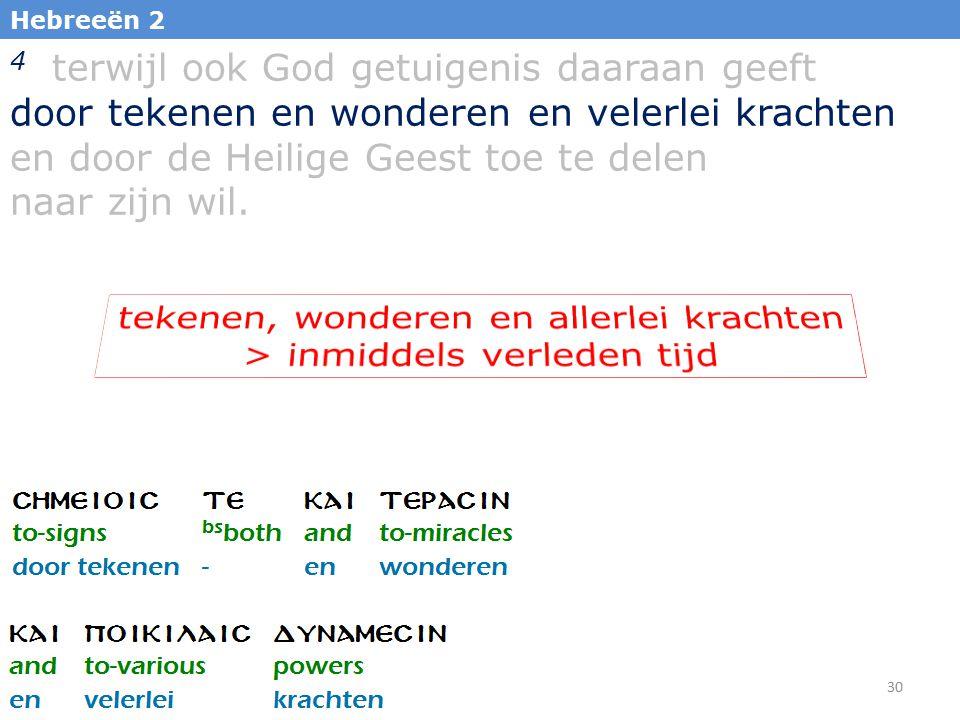 30 Hebreeën 2 4 terwijl ook God getuigenis daaraan geeft door tekenen en wonderen en velerlei krachten en door de Heilige Geest toe te delen naar zijn