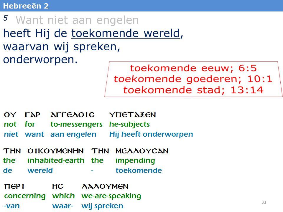 33 Hebreeën 2 5 Want niet aan engelen heeft Hij de toekomende wereld, waarvan wij spreken, onderworpen.