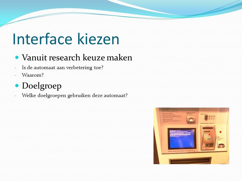 Interface kiezen Vanuit research keuze maken - Is de automaat aan verbetering toe.