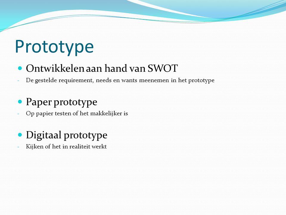 Prototype Ontwikkelen aan hand van SWOT - De gestelde requirement, needs en wants meenemen in het prototype Paper prototype - Op papier testen of het makkelijker is Digitaal prototype - Kijken of het in realiteit werkt