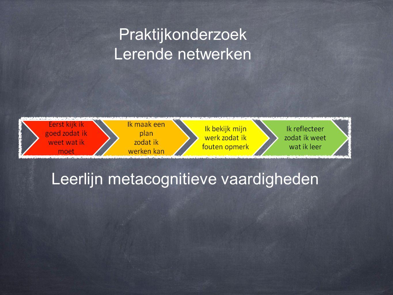Praktijkonderzoek Lerende netwerken Leerlijn metacognitieve vaardigheden