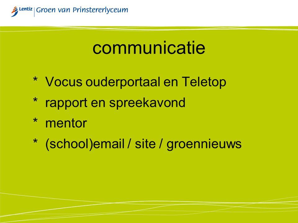 communicatie * Vocus ouderportaal en Teletop * rapport en spreekavond * mentor * (school)email / site / groennieuws