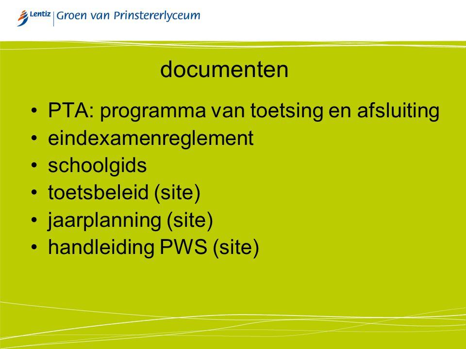 documenten PTA: programma van toetsing en afsluiting eindexamenreglement schoolgids toetsbeleid (site) jaarplanning (site) handleiding PWS (site)