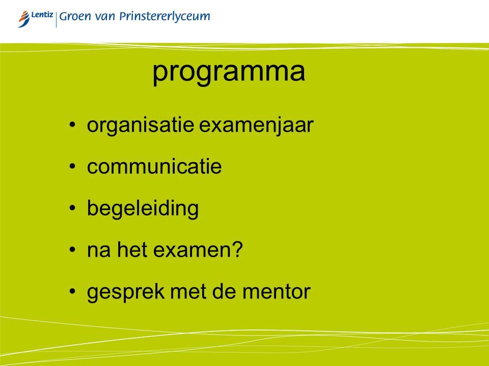 programma organisatie examenjaar communicatie begeleiding na het examen? gesprek met de mentor