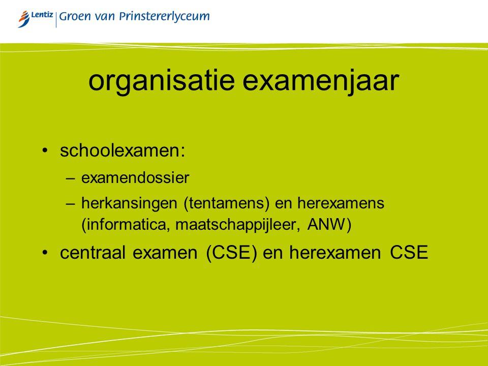 organisatie examenjaar schoolexamen: –examendossier –herkansingen (tentamens) en herexamens (informatica, maatschappijleer, ANW) centraal examen (CSE)