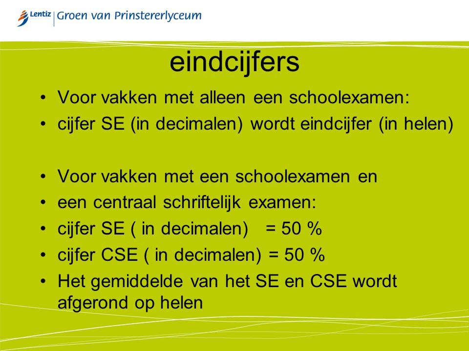 eindcijfers Voor vakken met alleen een schoolexamen: cijfer SE (in decimalen) wordt eindcijfer (in helen) Voor vakken met een schoolexamen en een cent