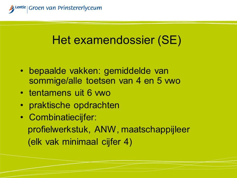 Het examendossier (SE) bepaalde vakken: gemiddelde van sommige/alle toetsen van 4 en 5 vwo tentamens uit 6 vwo praktische opdrachten Combinatiecijfer: