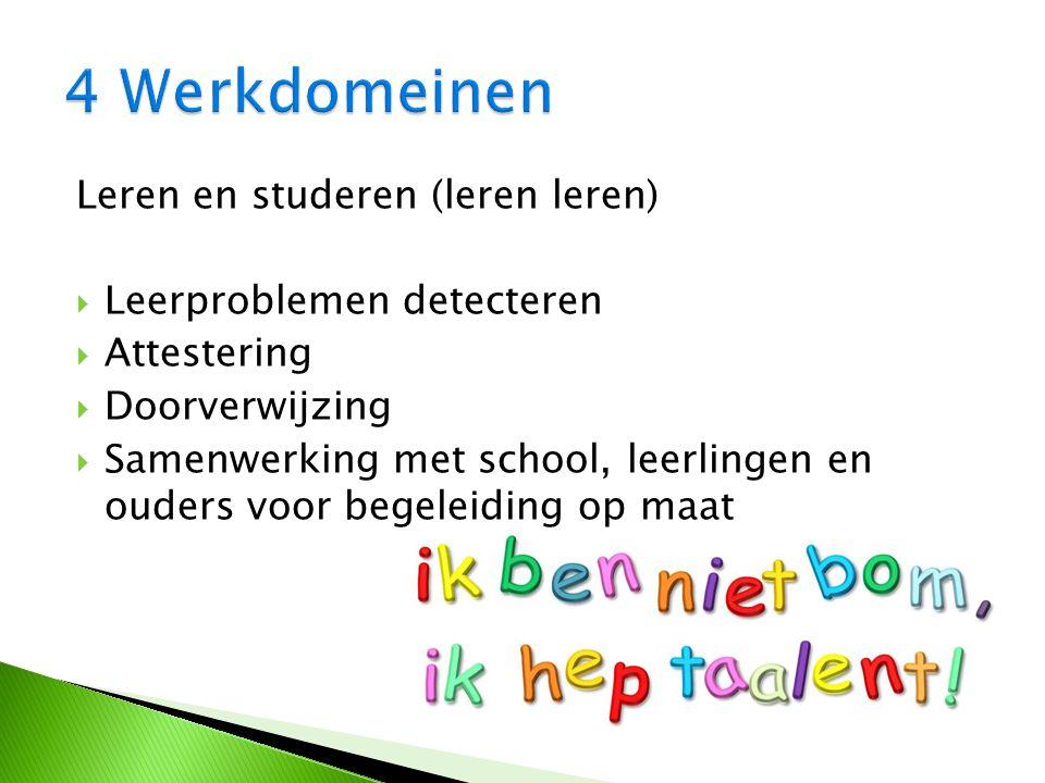 Leren en studeren (leren leren)  Leerproblemen detecteren  Attestering  Doorverwijzing  Samenwerking met school, leerlingen en ouders voor begeleiding op maat