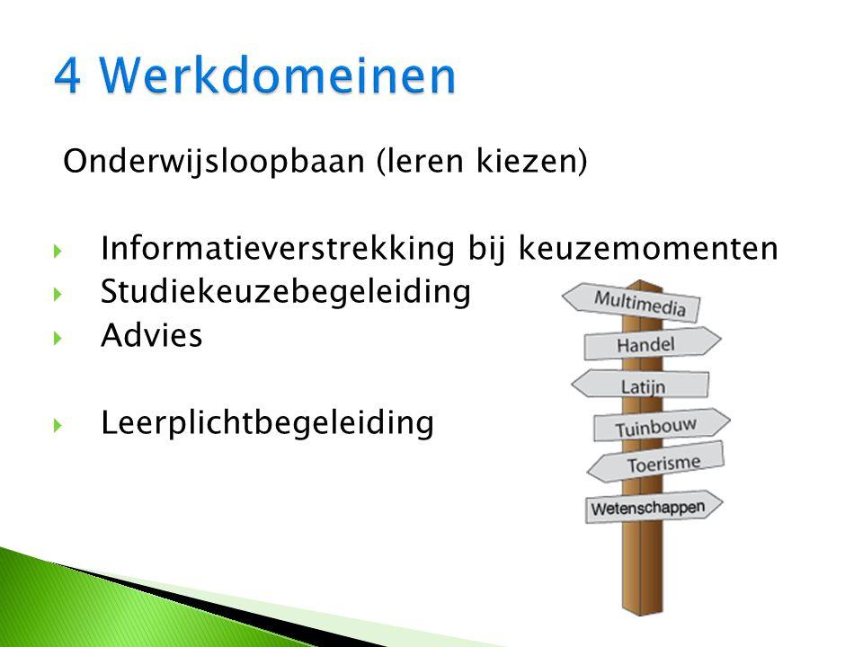 Onderwijsloopbaan (leren kiezen)  Informatieverstrekking bij keuzemomenten  Studiekeuzebegeleiding  Advies  Leerplichtbegeleiding