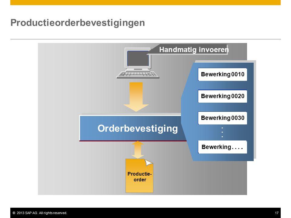 ©2013 SAP AG. All rights reserved.17 Orderbevestiging...... Handmatig invoeren Productieorderbevestigingen Productie- order Bewerking 0010 Bewerking 0