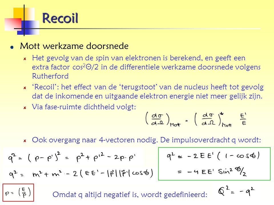 Recoil Mott werkzame doorsnede Het gevolg van de spin van elektronen is berekend, en geeft een extra factor cos 2 Θ /2 in de differentiele werkzame do