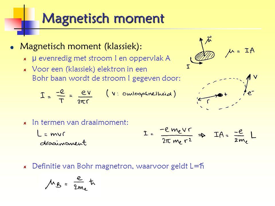 Magnetisch moment Magnetisch moment (klassiek): μ evenredig met stroom I en oppervlak A Voor een (klassiek) elektron in een Bohr baan wordt de stroom