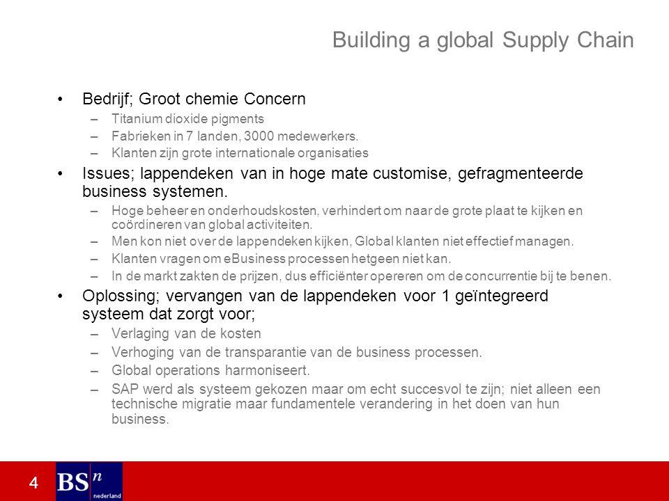 4 Building a global Supply Chain Bedrijf; Groot chemie Concern –Titanium dioxide pigments –Fabrieken in 7 landen, 3000 medewerkers.