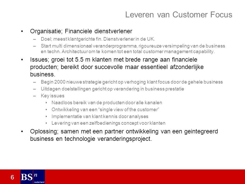 6 Leveren van Customer Focus Organisatie; Financiele dienstverlener –Doel; meest klantgerichte fin.