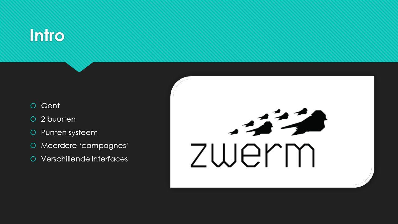 Intro  Gent  2 buurten  Punten systeem  Meerdere 'campagnes'  Verschillende Interfaces  Gent  2 buurten  Punten systeem  Meerdere 'campagnes'  Verschillende Interfaces