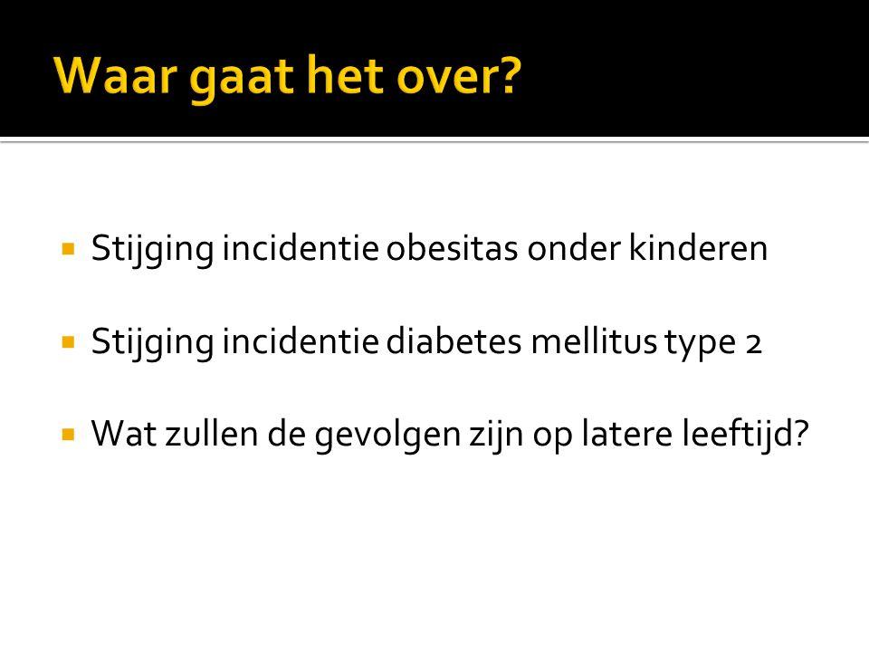  Stijging incidentie obesitas onder kinderen  Stijging incidentie diabetes mellitus type 2  Wat zullen de gevolgen zijn op latere leeftijd?