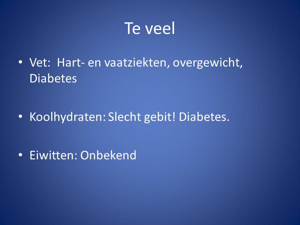 Te veel Vet: Hart- en vaatziekten, overgewicht, Diabetes Koolhydraten: Slecht gebit! Diabetes. Eiwitten: Onbekend