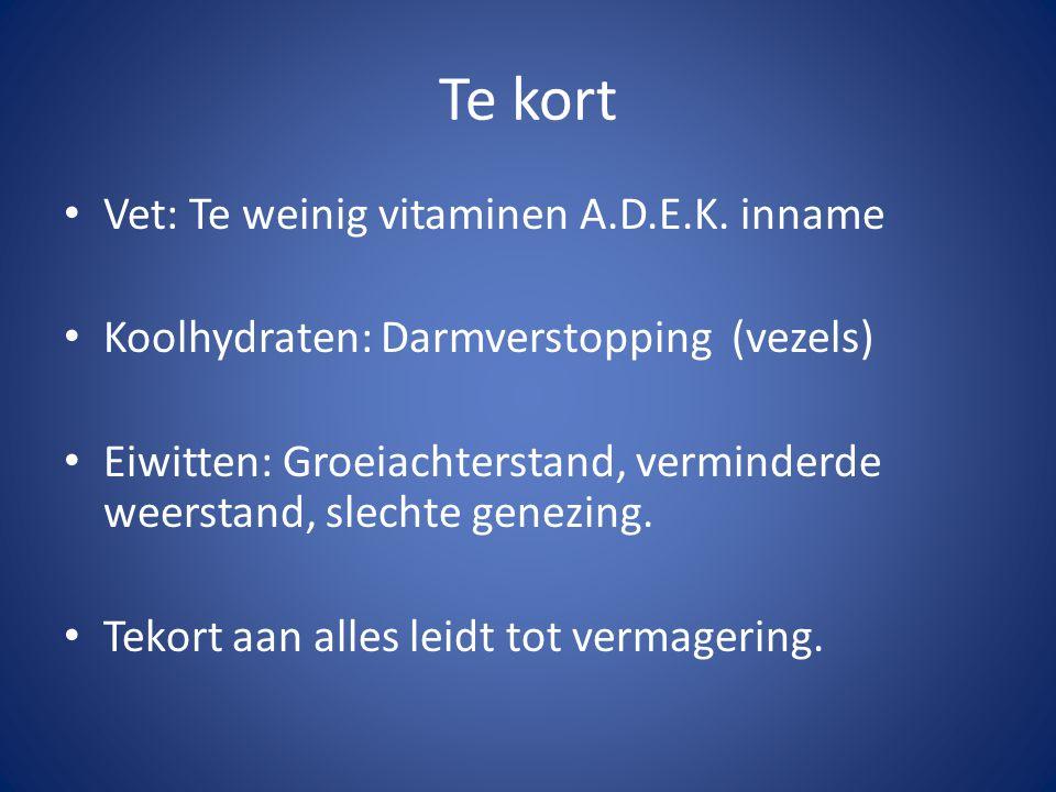 Te kort Vet: Te weinig vitaminen A.D.E.K. inname Koolhydraten: Darmverstopping (vezels) Eiwitten: Groeiachterstand, verminderde weerstand, slechte gen