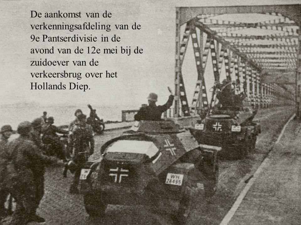 De aankomst van de verkenningsafdeling van de 9e Pantserdivisie in de avond van de 12e mei bij de zuidoever van de verkeersbrug over het Hollands Diep.