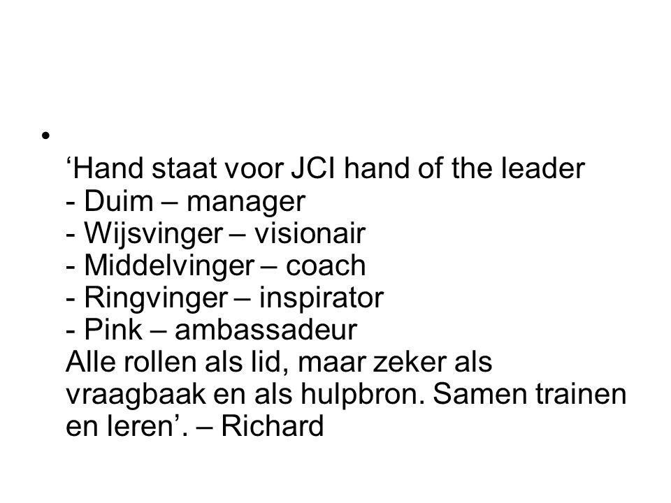 'Hand staat voor JCI hand of the leader - Duim – manager - Wijsvinger – visionair - Middelvinger – coach - Ringvinger – inspirator - Pink – ambassadeur Alle rollen als lid, maar zeker als vraagbaak en als hulpbron.