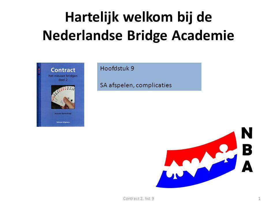 Hartelijk welkom bij de Nederlandse Bridge Academie Hoofdstuk 9 SA afspelen, complicaties 1Contract 2, hst 9
