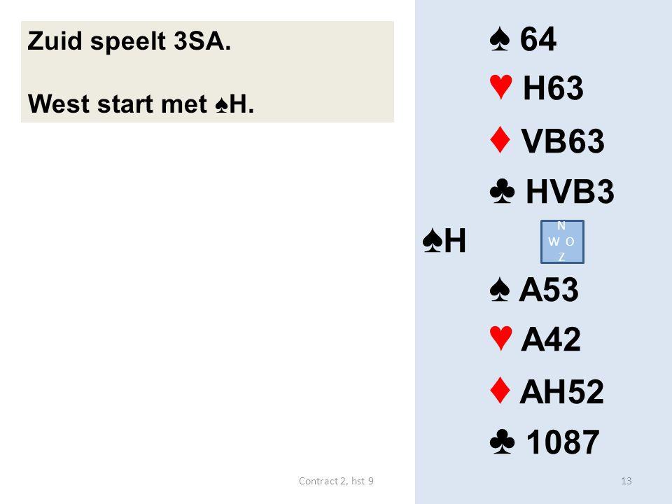 ♠ 64 ♥ H63 ♦ VB63 ♣ HVB3 ♠ H ♠ A53 ♥ A42 ♦ AH52 ♣ 1087 Zuid speelt 3SA.