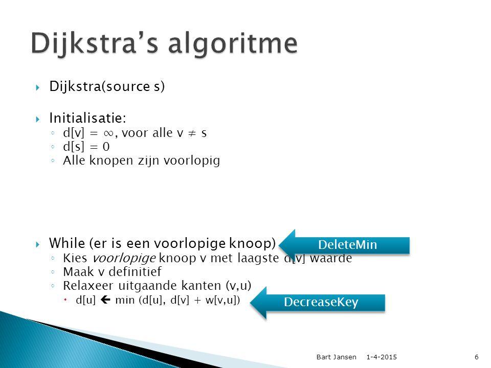 1-4-2015Bart Jansen37  Dominik Schultes & Peter Sanders, University of Karlsruhe (2005)  Technieken ervan zijn gebruikt voor het winnen van de 9 e DIMACS implementatie challenge (2006)