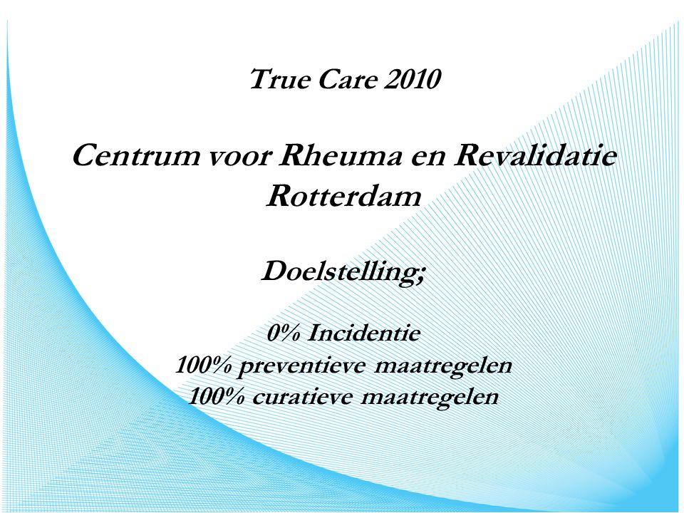 True Care 2010 Centrum voor Rheuma en Revalidatie Rotterdam Doelstelling; 0% Incidentie 100% preventieve maatregelen 100% curatieve maatregelen