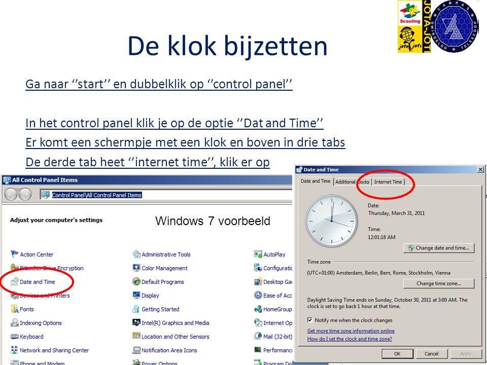 De klok bijzetten Ga naar ''start'' en dubbelklik op ''control panel'' In het control panel klik je op de optie ''Dat and Time'' Er komt een schermpje