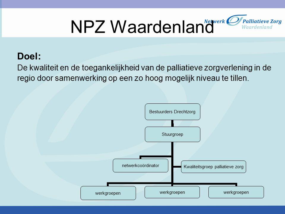 NPZ Waardenland Doel: De kwaliteit en de toegankelijkheid van de palliatieve zorgverlening in de regio door samenwerking op een zo hoog mogelijk nivea