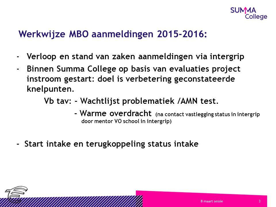 38 maart sessie Werkwijze MBO aanmeldingen 2015-2016: -Verloop en stand van zaken aanmeldingen via intergrip -Binnen Summa College op basis van evaluaties project instroom gestart: doel is verbetering geconstateerde knelpunten.