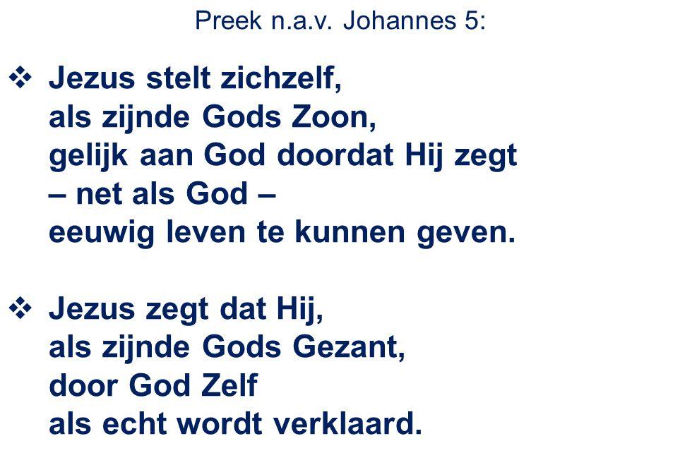 Preek n.a.v. Johannes 5:  Jezus stelt zichzelf, als zijnde Gods Zoon, gelijk aan God doordat Hij zegt – net als God – eeuwig leven te kunnen geven. 