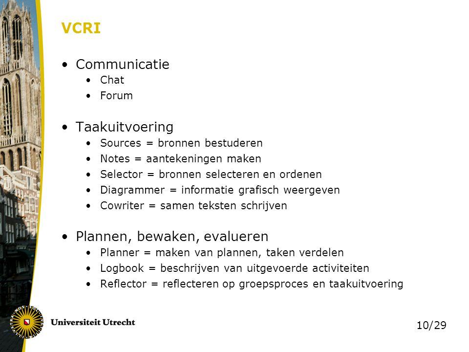 10/29 VCRI Communicatie Chat Forum Taakuitvoering Sources = bronnen bestuderen Notes = aantekeningen maken Selector = bronnen selecteren en ordenen Di