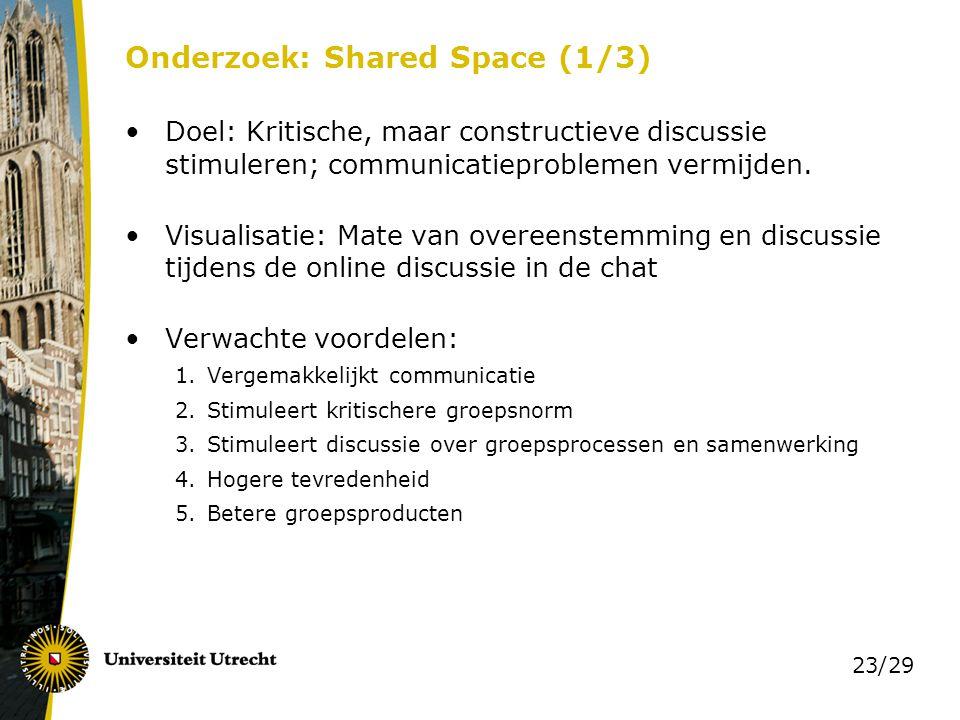 23/29 Onderzoek: Shared Space (1/3) Doel: Kritische, maar constructieve discussie stimuleren; communicatieproblemen vermijden. Visualisatie: Mate van