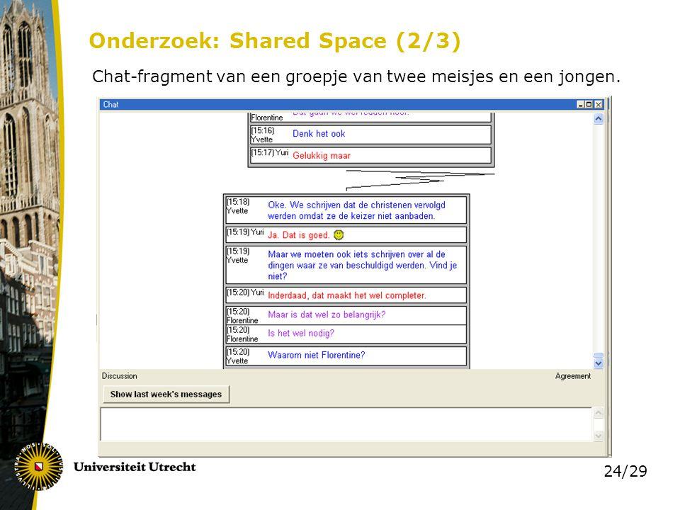 24/29 Onderzoek: Shared Space (2/3) Chat-fragment van een groepje van twee meisjes en een jongen.