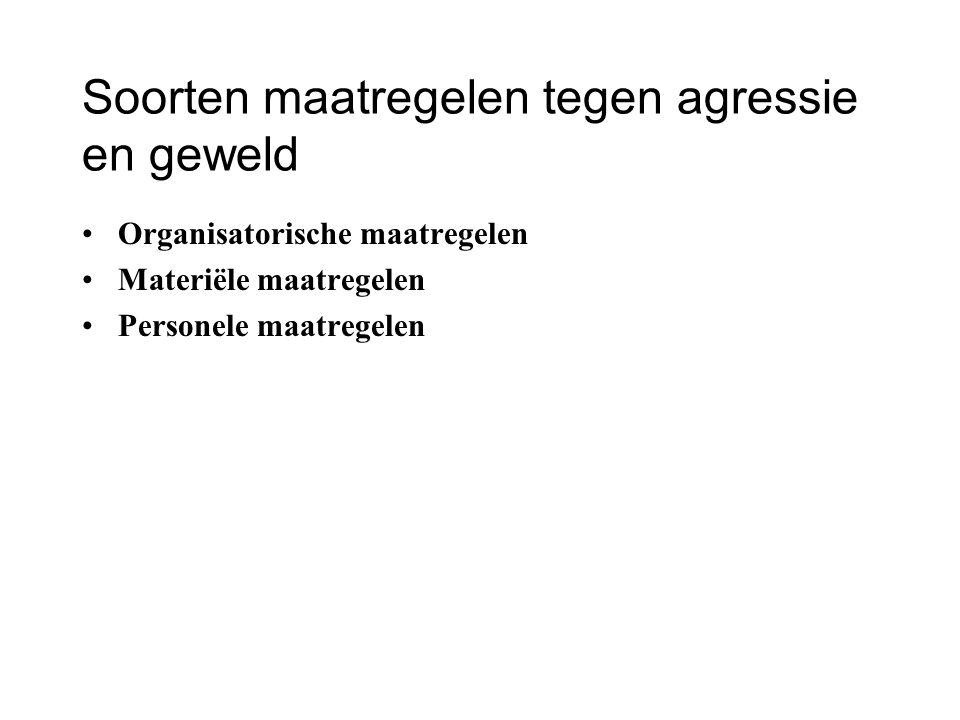 Soorten maatregelen tegen agressie en geweld Organisatorische maatregelen Materiële maatregelen Personele maatregelen