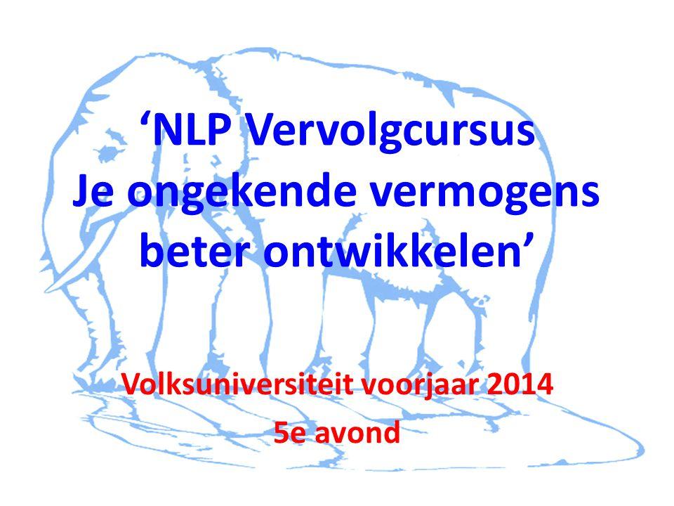 'NLP Vervolgcursus Je ongekende vermogens beter ontwikkelen' Volksuniversiteit voorjaar 2014 5e avond