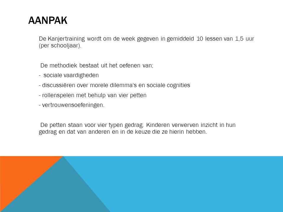AANPAK De Kanjertraining wordt om de week gegeven in gemiddeld 10 lessen van 1,5 uur (per schooljaar). De methodiek bestaat uit het oefenen van; - soc
