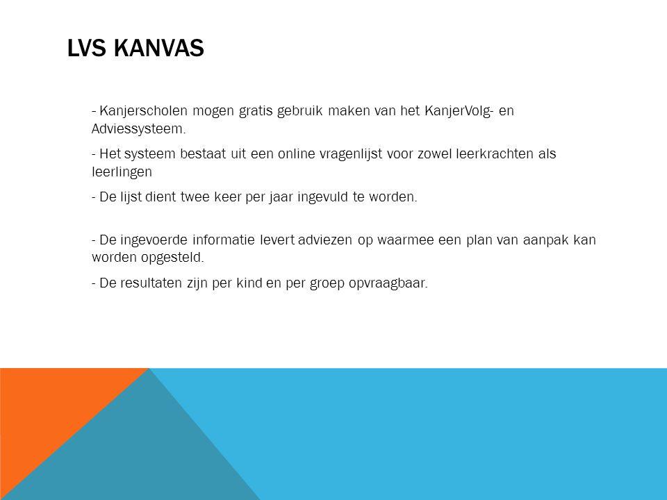 LVS KANVAS - Kanjerscholen mogen gratis gebruik maken van het KanjerVolg- en Adviessysteem. - Het systeem bestaat uit een online vragenlijst voor zowe
