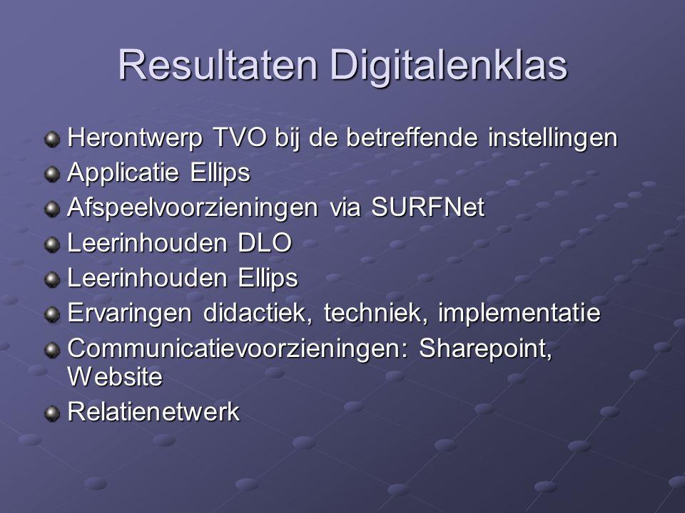 Resultaten Digitalenklas Herontwerp TVO bij de betreffende instellingen Applicatie Ellips Afspeelvoorzieningen via SURFNet Leerinhouden DLO Leerinhoud