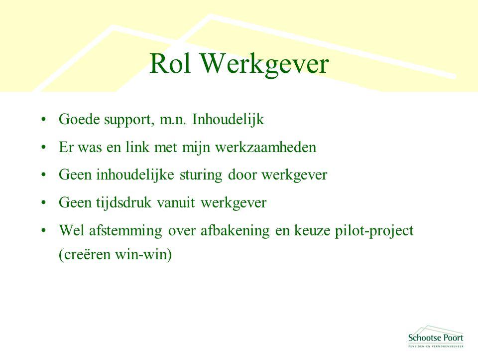 Rol Werkgever Goede support, m.n.