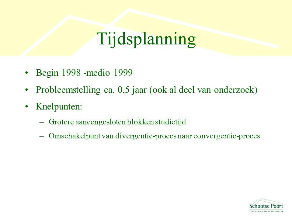 Tijdsplanning Begin 1998 -medio 1999 Probleemstelling ca.