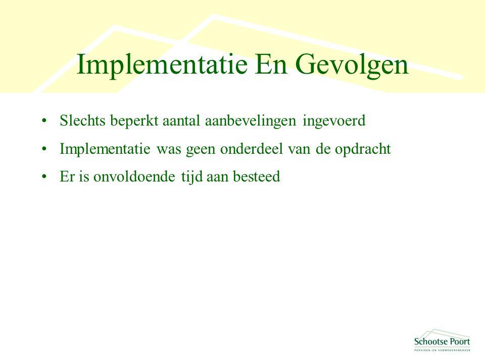 Implementatie En Gevolgen Slechts beperkt aantal aanbevelingen ingevoerd Implementatie was geen onderdeel van de opdracht Er is onvoldoende tijd aan besteed