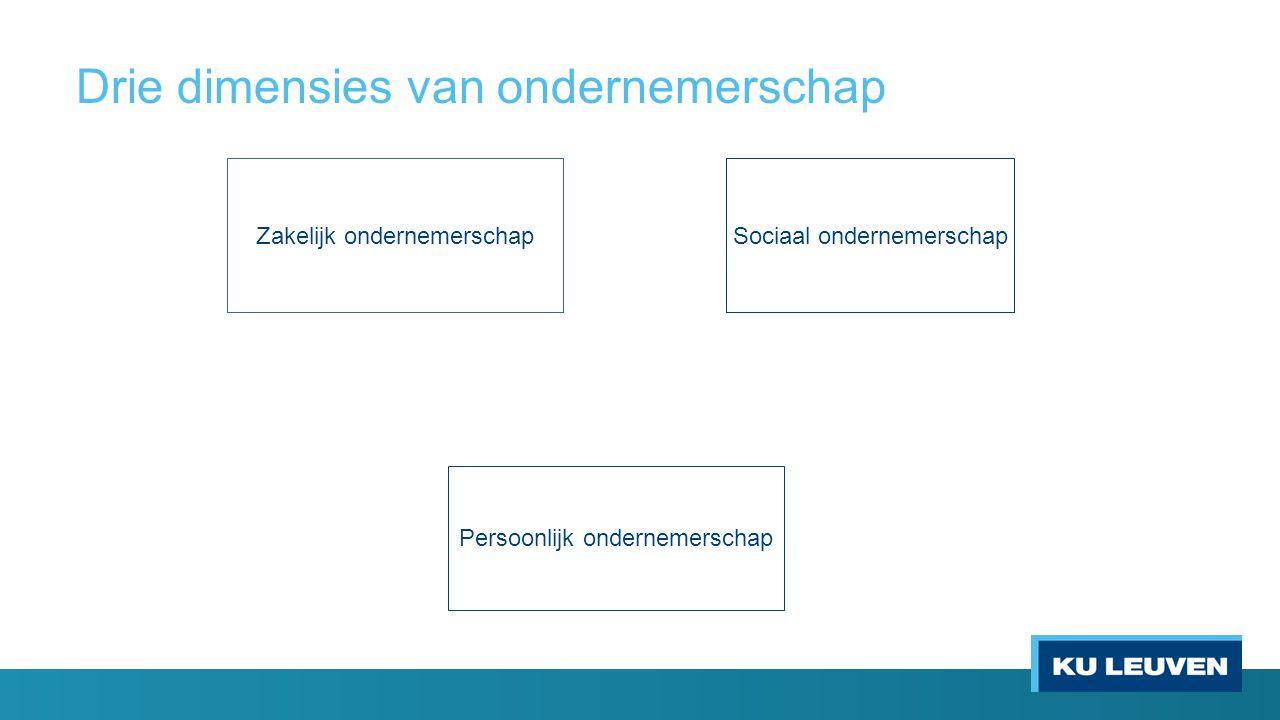 Drie dimensies van ondernemerschap Zakelijk ondernemerschapSociaal ondernemerschap Persoonlijk ondernemerschap