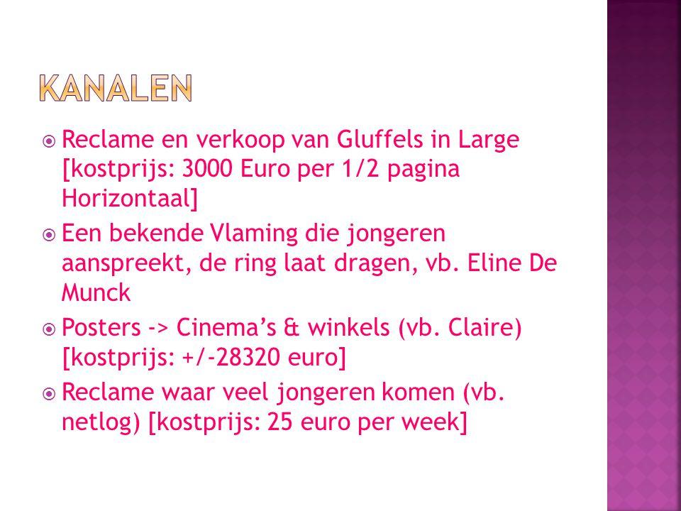  Reclame en verkoop van Gluffels in Large [kostprijs: 3000 Euro per 1/2 pagina Horizontaal]  Een bekende Vlaming die jongeren aanspreekt, de ring laat dragen, vb.