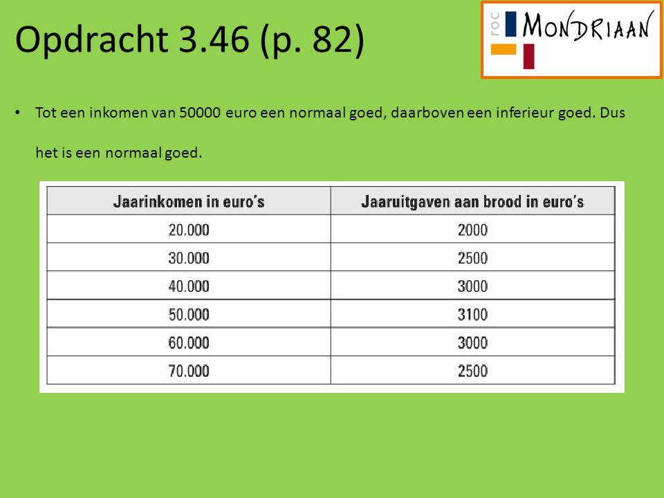 Opdracht 3.46 (p. 82) Tot een inkomen van 50000 euro een normaal goed, daarboven een inferieur goed. Dus het is een normaal goed.