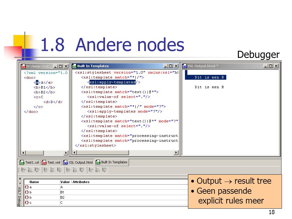 18 1.8 Andere nodes Output  result tree Geen passende explicit rules meer Debugger